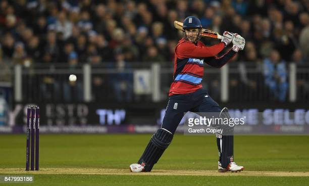 Alex Hales of England bats during the NatWest T20 International match between England and the West Indies at Emirates Durham ICG on September 16 2017...