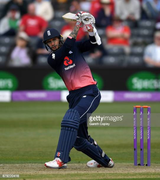 Alex Hales of England bats during the Royal London One Day International between England and Ireland at The Brightside Ground on May 5 2017 in...