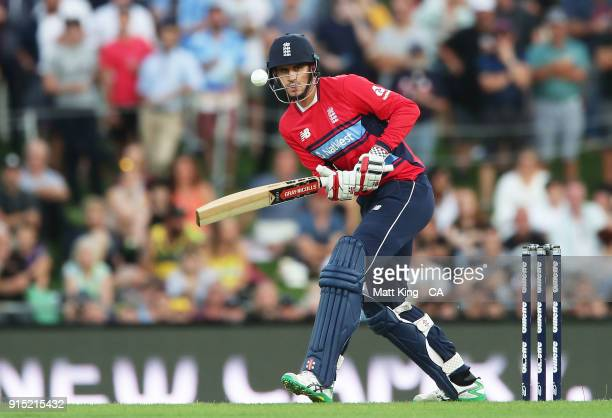 Alex Hales of England bats during the Twenty20 International match between Australia and England at Blundstone Arena on February 7, 2018 in Hobart,...