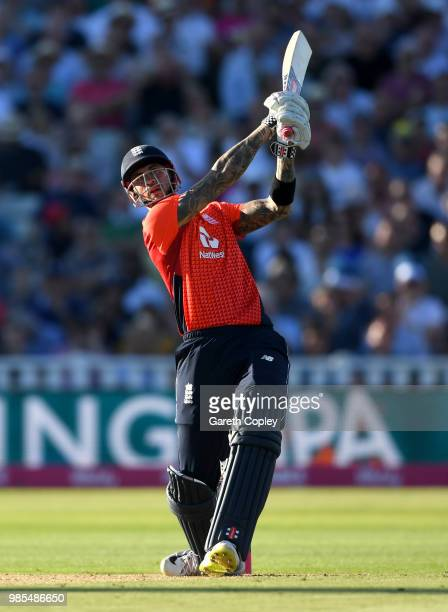 Alex Hales of England bats during the Vitality International T20 between England and Australia at Edgbaston on June 27, 2018 in Birmingham, England.