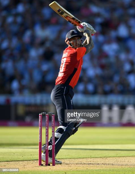 Alex Hales of England bats during the Vitality International T20 between England and Australia at Edgbaston on June 27 2018 in Birmingham England