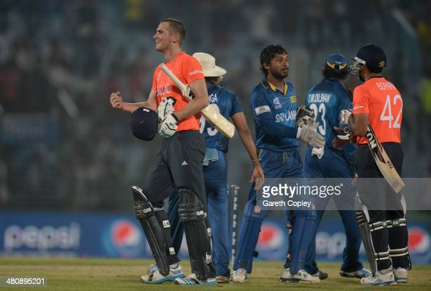 Alex Hales of England celebrates hitting the winning runs during the ICC World Twenty20 Bangladesh 2014 Group 1 match between England and Sri Lanka...