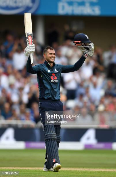 Alex Hales of England celebrates reaching his century during the 3rd Royal London ODI match between England and Australia at Trent Bridge on June 19,...