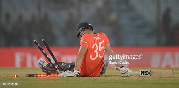 Alex Hales of England falls into the stumps during the ICC World Twenty20 Bangladesh 2014 Group 1 match between England and South Africa at Zahur...