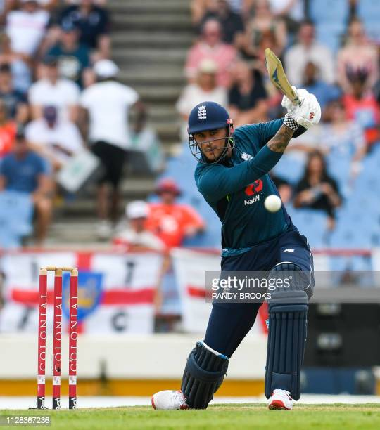 Alex Hales of England hits 4 during the 5th and final ODI between West Indies and England at Darren Sammy Cricket Ground Gros Islet Saint Lucia on...