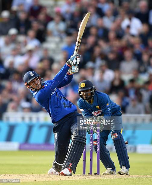 Alex Hales of England hits out for six runs during the 2nd ODI Royal London OneDay match between England and Sri Lanka at Edgbaston on June 24 2016...