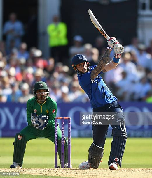 Alex Hales of England hits out for six runs during the 3rd One Day International match between England and Pakistan at Trent Bridge on August 30 2016...