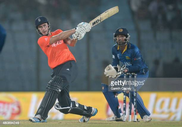 Alex Hales of England hits out for six runs during the ICC World Twenty20 Bangladesh 2014 Group 1 match between England and Sri Lanka at Zahur Ahmed...