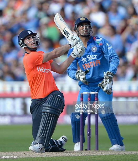 Alex Hales of England hits out for six runs during the NatWest International T20 between England and India at Edgbaston on September 7 2014 in...