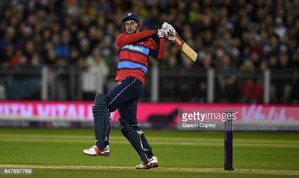 Alex Hales of England hits out for six runs during the NatWest T20 International match between England and the West Indies at Emirates Durham ICG on...