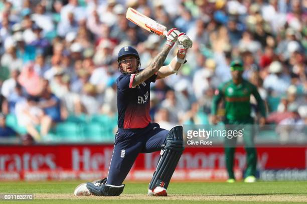 Alex Hales of England in action during the ICC Champions trophy cricket match between England and Bangladesh at The Oval in London on June 1 2017