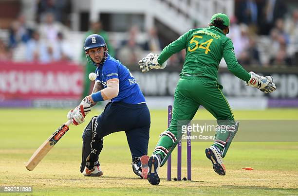 Alex Hales of England is bowled by Imad Wasim of Pakistan during the 2nd One Day International match between England and Pakistan on August 27 2016...