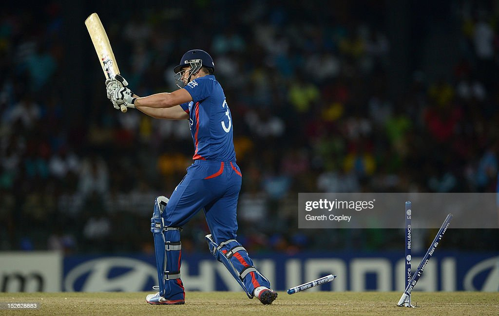 Alex Hales of England is bowled by Irfan Pathan of India during the ICC World Twenty20 2012 Group A match between England and India at R. Premadasa Stadium on September 23, 2012 in Colombo, Sri Lanka.