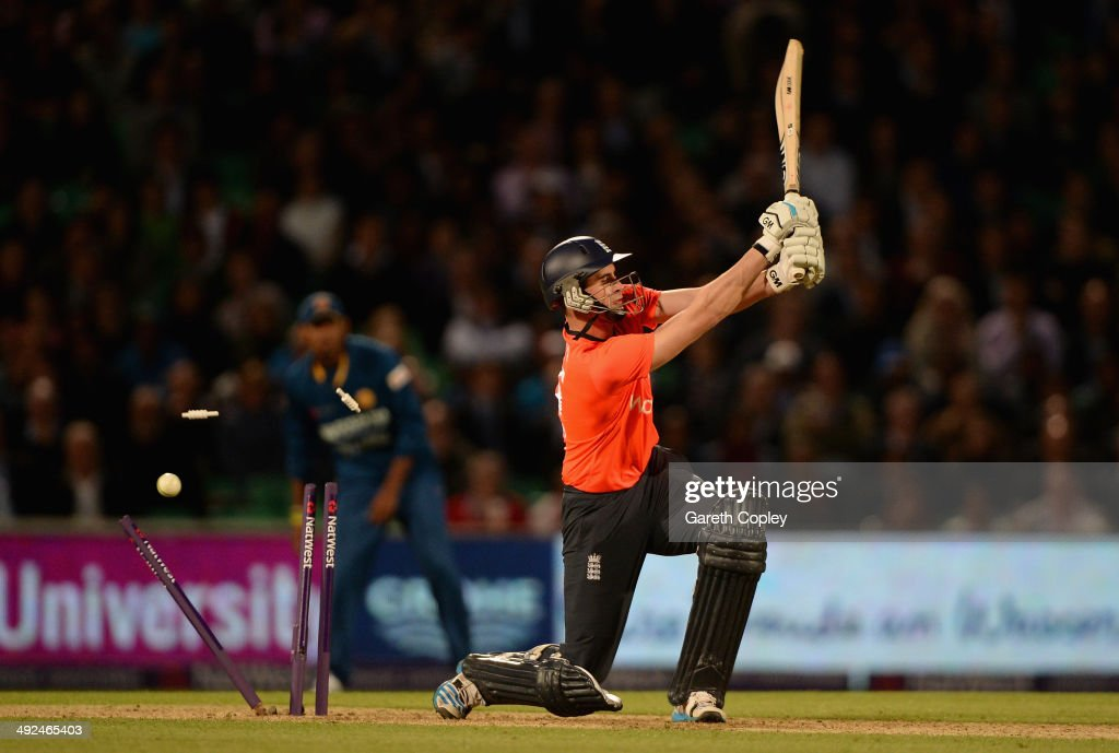 Alex Hales of England is bowled by Lasith Malinga of Sri Lanka during the NatWest International T20 match between England and Sri Lanka at The Kia Oval on May 20, 2014 in London, England.