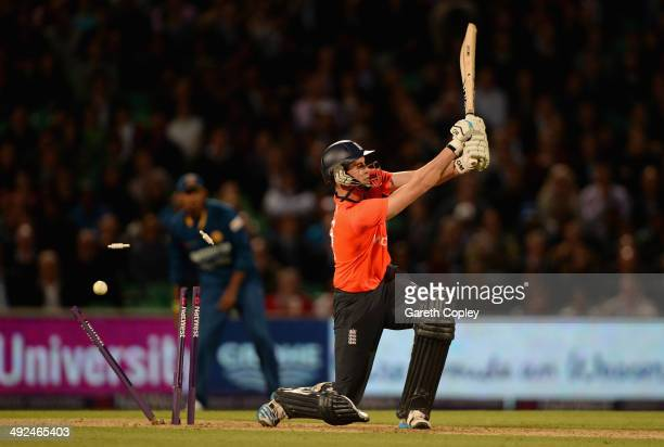 Alex Hales of England is bowled by Lasith Malinga of Sri Lanka during the NatWest International T20 match between England and Sri Lanka at The Kia...