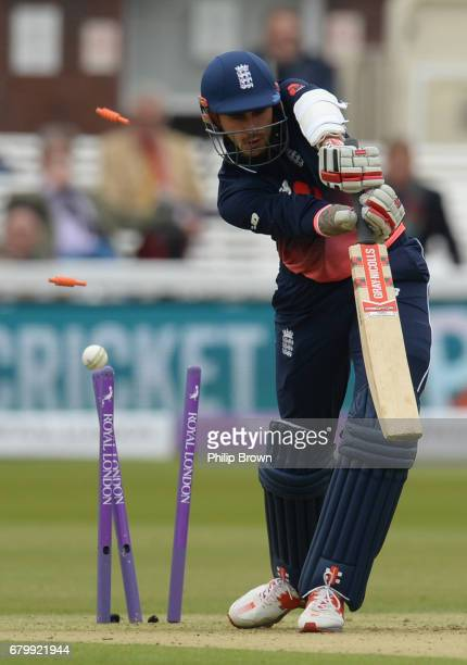 Alex Hales of England is bowled by Tim Murtagh of Ireland during the 2nd Royal London oneday international cricket match between England and Ireland...