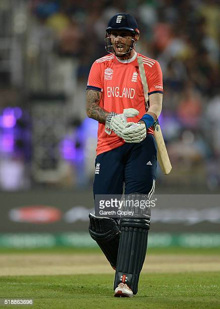 Alex Hales of England leaves the field after being dismissed by Andre Russell of the West Indies during the ICC World Twenty20 India 2016 Final...