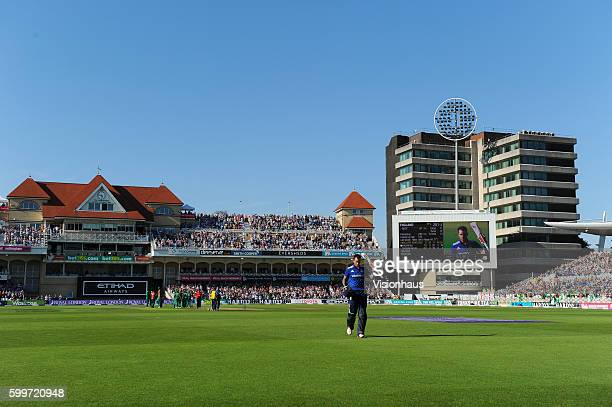 Alex Hales of England leaves the pitch after his record breaking innings of 171 during the 3rd Royal London ODI between England and Pakistan at Trent...