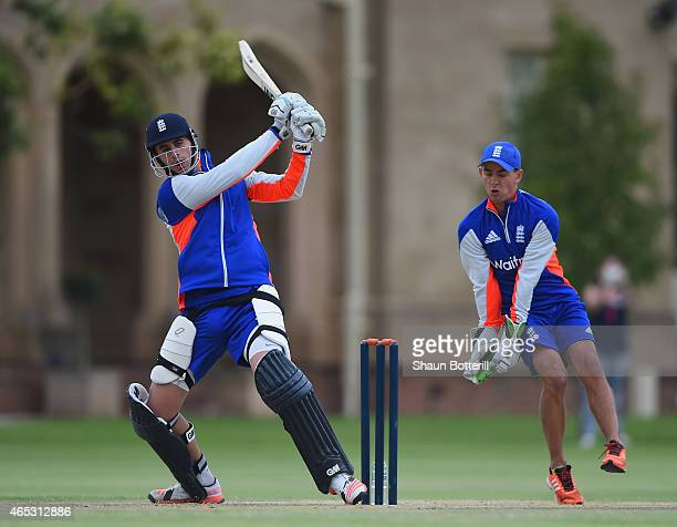 Alex Hales of England plays a shot during an England nets session at St Peter's College on March 6 2015 in Adelaide Australia