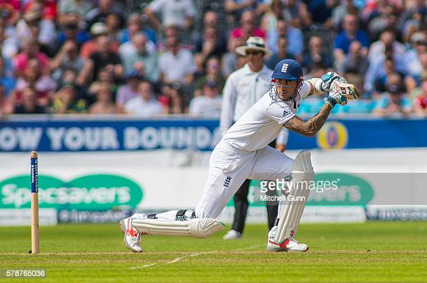 Alex Hales of England plays a shot during day one of the 2nd Investec Test match between England and Pakistan at The Emirates Old Trafford Cricket...