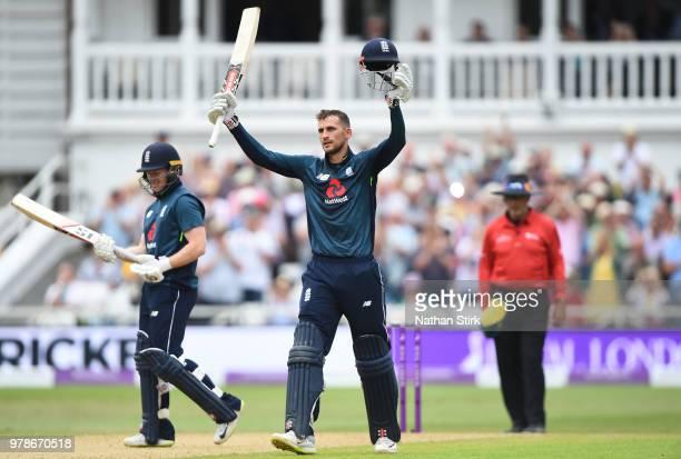 Alex Hales of England raises his bat after scoring 100 runs during the 3rd Royal London ODI match between England and Australia at Trent Bridge on...