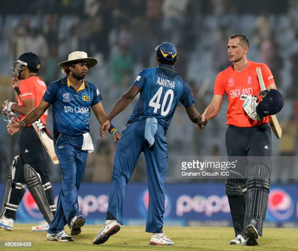 Alex Hales of England shakes hands with Ajantha Mendis of Sri Lanka after hitting the winning runs during the England v Sri Lanka match at the ICC...