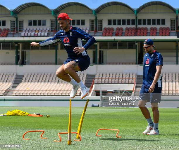 Alex Hales of England takes part in a training session one day ahead of the 1st T20I between West Indies England at Darren Sammy Cricket Ground Gros...