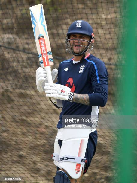 Alex Hales of England waits to bat during a nets session at the Darren Sammy Cricket Stadium on March 01 2019 in Gros Islet Saint Lucia