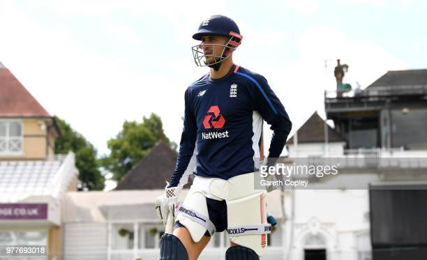 Alex Hales of England walks to the nets during a nets session at Trent Bridge on June 18, 2018 in Nottingham, England.