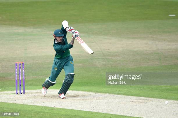Alex Hales of Nottingham plays a front foot drive during the Royal London OneDay Cup match between Nottinghamshire Outlaws and Durham at Trent Bridge...