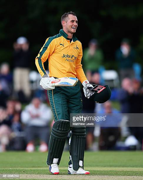 Alex Hales of Nottinghamshire celebrates his century during the Royal London OneDay Cup match between Nottinghamshire and Warwickshire at Welbeck...
