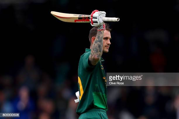 Alex Hales of Nottinghamshire celebrates his century during the Royal London OneDay Cup Final betwen Nottinghamshire and Surrey at Lord's Cricket...