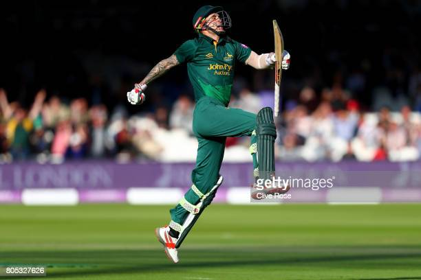 Alex Hales of Nottinghamshire celebrates the winning runs during the Royal London One-Day Cup Final betwen Nottinghamshire and Surrey at Lord's...