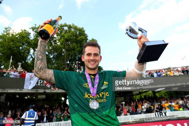 Alex Hales of Nottinghamshire celebrates with the winners trophy as Nottinghamshire win the Royal London One-Day Cup Final betwen Nottinghamshire and...