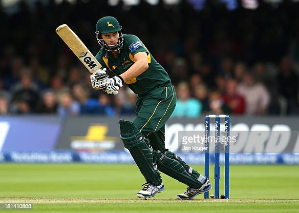 Alex Hales of Nottinghamshire clips a ball off his legs during the Yorkshire Bank 40 Final match between Glamorgan and Nottinghamshire at Lord's...