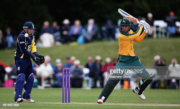 Alex Hales of Nottinghamshire edges the ball towardsthe boundary as Tim Ambrose of Warwickshire looks on during the Royal London OneDay Cup match...