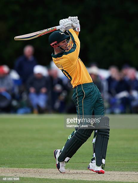 Alex Hales of Nottinghamshire hits a six during the Royal London OneDay Cup match between Nottinghamshire and Warwickshire at Welbeck Colliery...