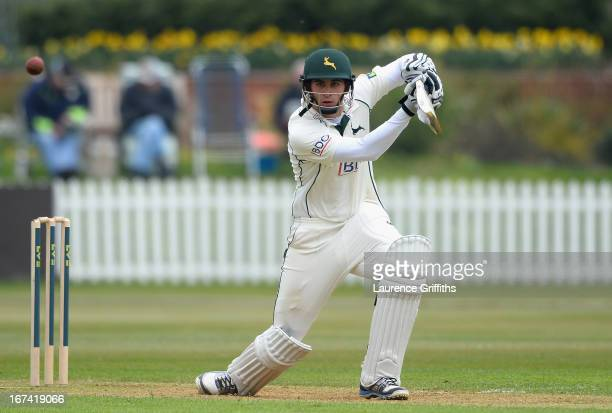 Alex Hales of Nottinghamshire hits out to the boundary during day two of the LV County Championship division one match between Derbyshire and...