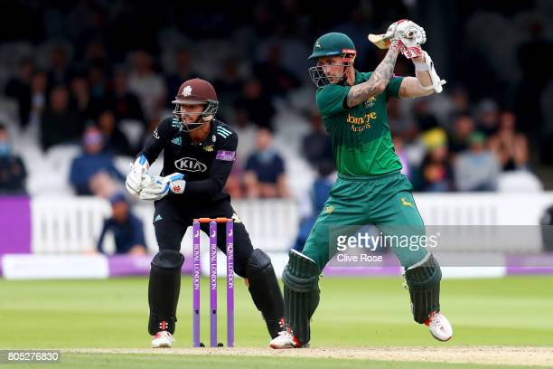 Alex Hales of Nottinghamshire in action during the Royal London OneDay Cup Final betwen Nottinghamshire and Surrey at Lord's Cricket Ground on July 1...