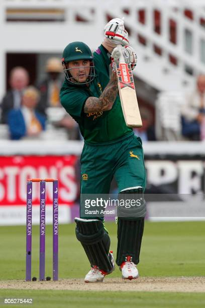 Alex Hales of Nottinghamshire plays a straight drive during the match between Nottinghamshire and Surrey at Lord's Cricket Ground on July 1 2017 in...