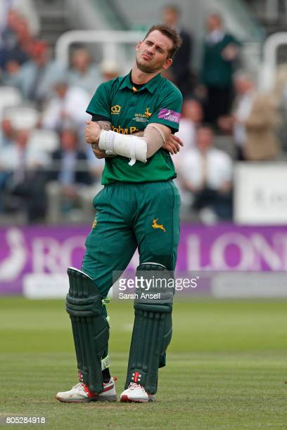 Alex Hales of Nottinghamshire reacts after watching the reply of his teammate Steven Mullaney's dismissal during the match between Nottinghamshire...