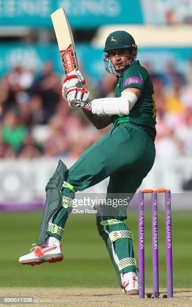 Alex Hales of Nottinghamsire plays down the leg side during the Royal London OneDay Cup Semi Final between Essex and Nottinghamshire at Cloudfm...