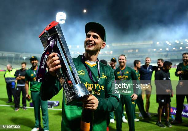 Alex Hales of Notts celebrates with the trophy after winning the NatWest T20 Blast Final between Birmingham Bears and Notts Outlaws at Edgbaston on...