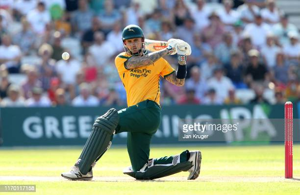Alex Hales of Notts Outlaws bats during the Vitality T20 Blast match between Notts Outlaws and Yorkshire Vikings at Trent Bridge on August 25, 2019...