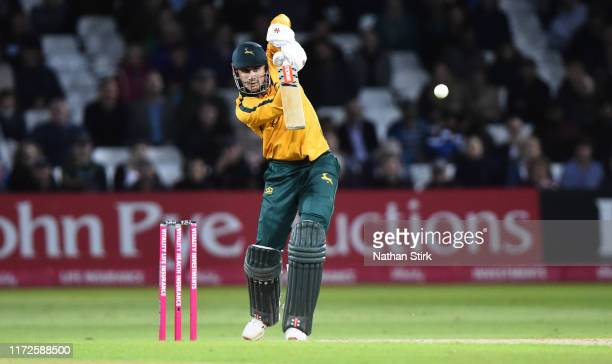 Alex Hales of Notts Outlaws bats during the Vitality T20 Blast match between Notts Outlaws and Middlesex at Trent Bridge on September 05, 2019 in...