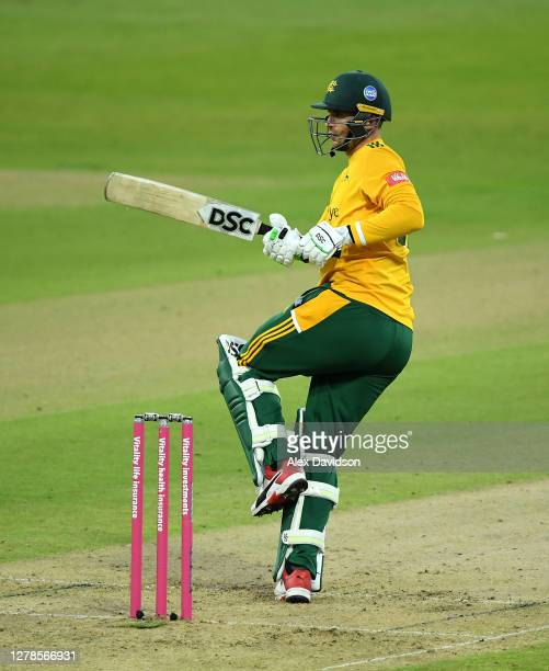 Alex Hales of Notts Outlaws hits runs during the Vitality T20 Blast Semi Final between Notts Outlaws and Lancashire Lightning at Edgbaston on October...
