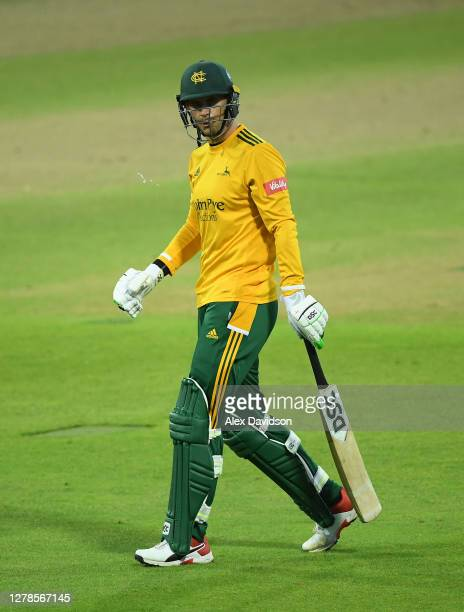 Alex Hales of Notts Outlaws walks off after being dismissed during the Vitality T20 Blast Semi Final between Notts Outlaws and Lancashire Lightning...