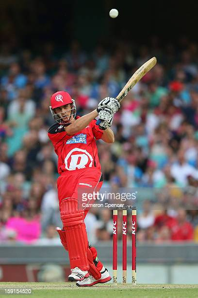 Alex Hales of the Renegades bats during the Big Bash League match between the Sydney Sixers and the Melbourne Renegades at SCG on January 9, 2013 in...
