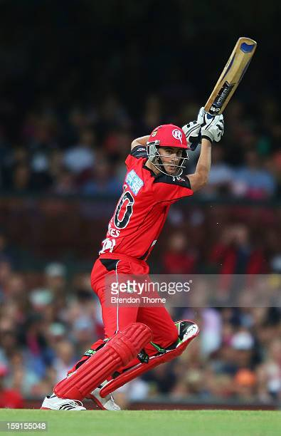 Alex Hales of the Renegades bats during the Big Bash League match between the Sydney Sixers and the Melbourne Renegades at SCG on January 9 2013 in...