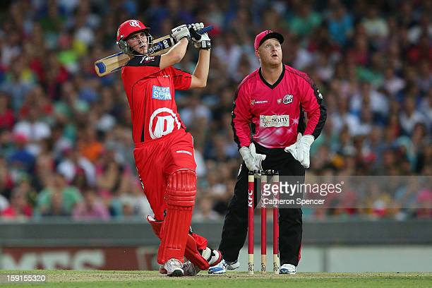 Alex Hales of the Renegades hits six runs during the Big Bash League match between the Sydney Sixers and the Melbourne Renegades at SCG on January 9,...